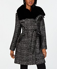 Asymmetrical Belted Faux-Fur-Collar Coat