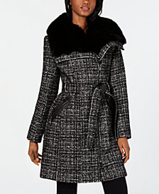 Via Spiga Asymmetrical Belted Faux-Fur-Collar Coat