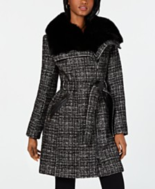 Via Spiga Asymmetrical Belted Faux-Fur-Collar Coat