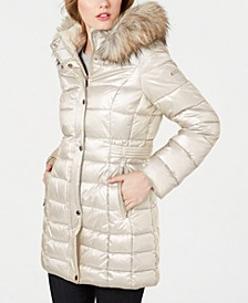 Petite Faux-Fur Trim Hooded Puffer Coat