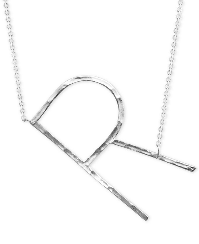 """Macy's - Silver-Plated Hammered Initial 18"""" Pendant Necklace"""