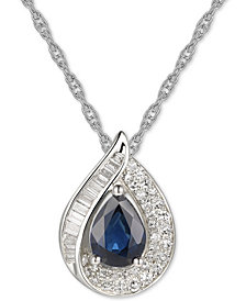 """Sapphire (3/4 ct. t.w.) & Diamond (1/4 ct. t.w.) 18"""" Pendant Necklace in 14k White Gold (Also Available in Certified Ruby)"""