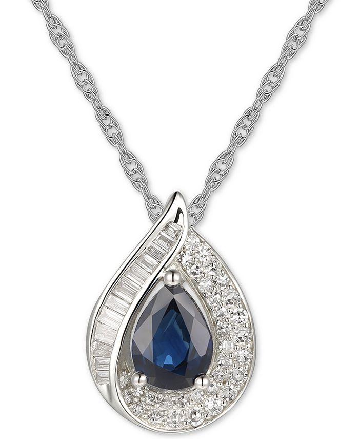 "Macy's - Gemstone & Diamond (1/4 ct. t.w.) 18"" Pendant Necklace in 14k Gold"