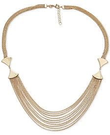 "Italian Gold Multi-Row Statement Necklace in 14k Gold, 17"" + 1"" extender"