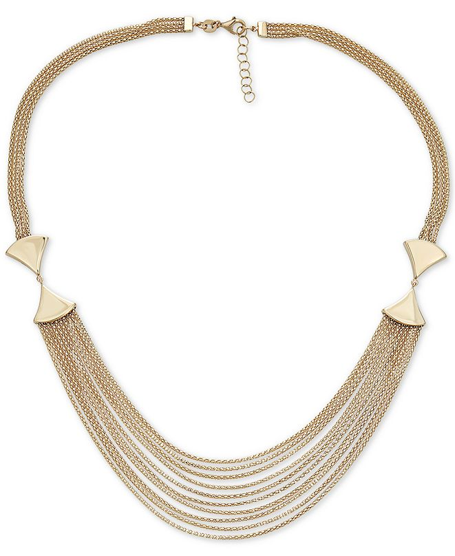 """Italian Gold Multi-Row Statement Necklace in 14k Gold, 17"""" + 1"""" extender"""