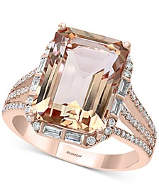 EFFY® Morganite (7-1/10 ct. t.w.) & Diamond (1/3 ct. t.w.) Ring in 14k Rose Gold