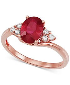 Certified Ruby (1-5/8 ct. t.w) & Diamond (1/10 ct. t.w.) Ring in 14k Rose Gold