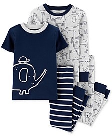 Baby Boys 4-Pc. Animal-Print Cotton Pajamas Set