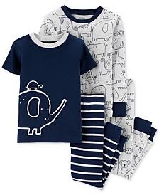 Carter's Baby Boys 4-Pc. Animal-Print Cotton Pajamas Set