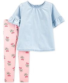 Toddler Girls 2-Pc. Chambray Top & Printed Leggings Set