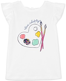 Carter's Little & Big Girls Bow-Back Paint-Print Cotton T-Shirt