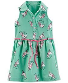 Toddler Girls Unicorn Shirtdress