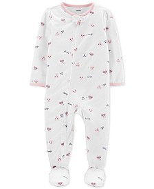 Baby Girls 1-Pc. Heart-Print Footed Pajamas