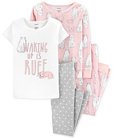 Little & Big Girls 4-Pc. Dog-Print Cotton Pajamas Set