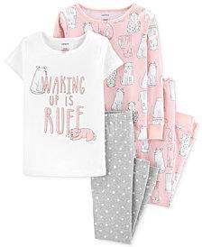 Carter's Little & Big Girls 4-Pc. Dog-Print Cotton Pajamas Set