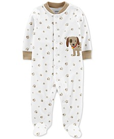 Baby Boys Paw-Print Fleece Coverall