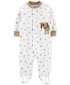 Baby Boys Paw-Print Fleece Coverall