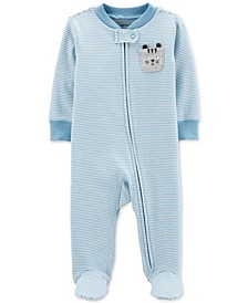 Baby Boys 1-Pc. Striped Cat Footed Pajamas
