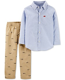 Baby Boys 2-Pc. Cotton Striped Button-Front Top & Hero Vehicle-Print Pants Set