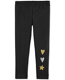 Toddler Girls Glitter Heart & Star Leggings