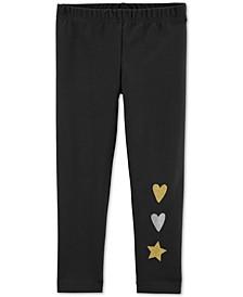 Toddler Girls Glitter Heart & Star Leggings