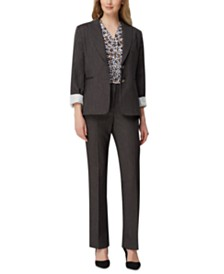 Tahari ASL Denim Jacket, Wrap Top & Straight-Leg Pants