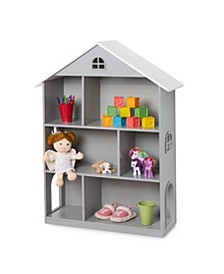 Girls Gray Dollhouse Bookcase