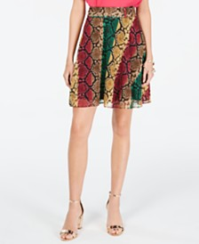I.N.C. Python-Print Mini Skirt, Created for Macy's