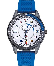 N83 Men's NAPSPS903 Surf Park Blue/White Silicone Strap Watch
