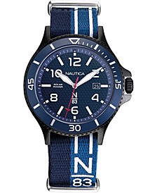 N83 Men's NAPCBS903 Cocoa Beach Solar Blue/Black Fabric Slip-Thru Strap Watch