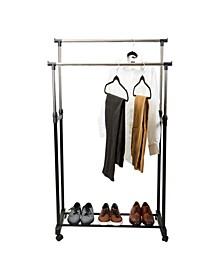 Double Tier Adjustable Height Rolling Garment Rack