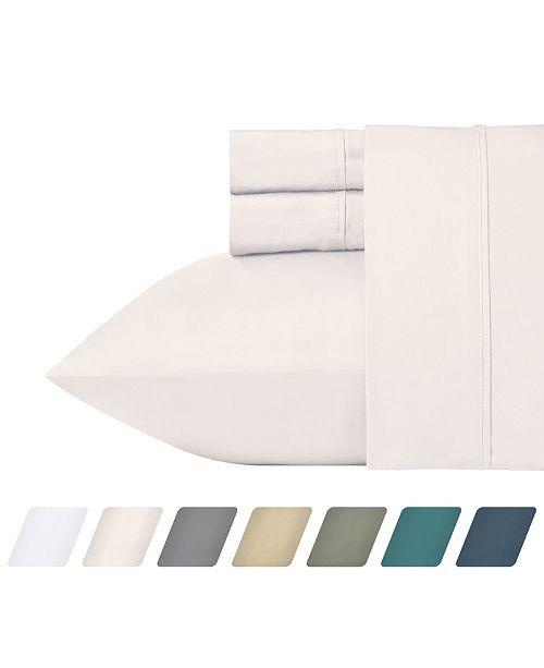 California Design Den 300 Thread Count Cotton 4-Piece Percale Sheet Set, Cal King