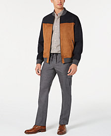 Tasso Elba Men's Herringbone Geo-Print Shirt, Colorblocked Faux-Leather Mix-Media Bomber Jacket & Stretch Drawstring Cargo Pants, Created for Macy's