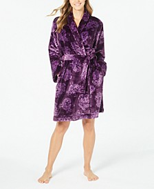 Super Soft Printed Short Wrap Robe, Created For Macy's