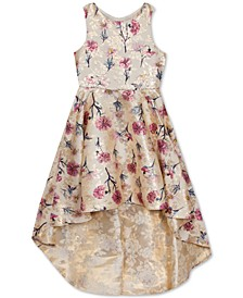 Little Girls Floral-Print Brocade High-Low Dress
