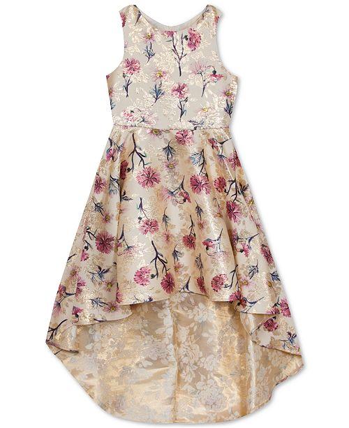 Rare Editions Toddler Girls Floral-Print Brocade High-Low Dress