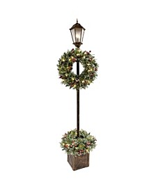 International 7 ft. Lamp Post with Wreath and 50 Warm White LED Lights