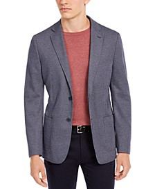 Men's Slim-Fit Navy/White Knit Micro Check Sport Coat, Created for Macy's