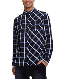 Men's Multi-Directional Grid Pattern Shirt