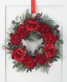 Martha Stewart Collection Rose & Pine Wreath, Created for Macy's
