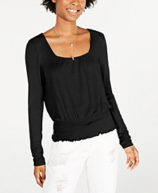 Juniors' Smocked-Waist Long-Sleeve Top, Created for Macy's