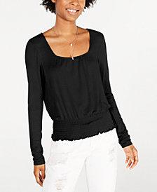 American Rag Juniors' Smocked-Waist Long-Sleeve Top, Created for Macy's