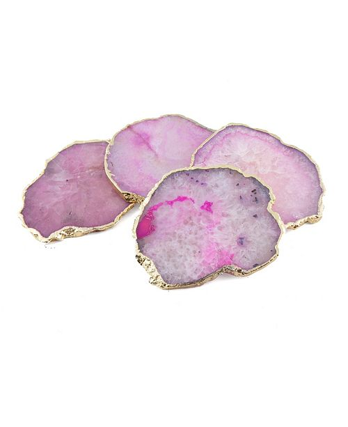 Thirstystone Pink Agate Coasters, Set of 4