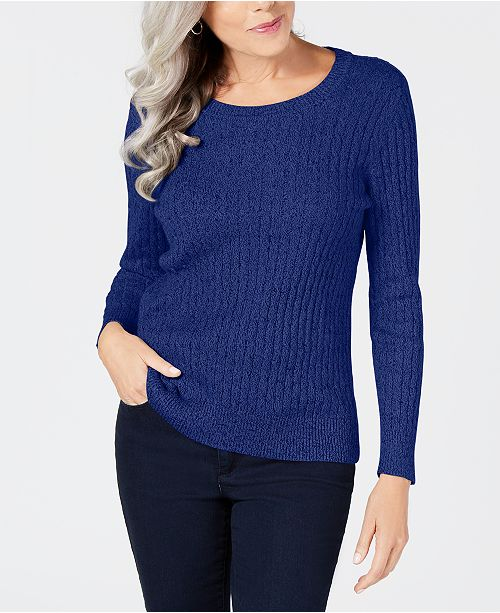 Karen Scott Cotton Marled-Knit Sweater, Created for Macy's