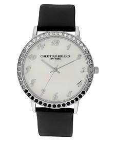 Christian Siriano Women's Analog MOP Stainless Steel Black Vegan Leather Watch 40mm