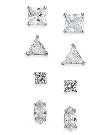 INC Silver-Tone 4-Pc. Set Cubic Zirconia Stud Earrings, Created for Macy's