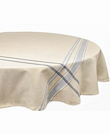 "Chambray French Stripe Tablecloth 70"" Round"