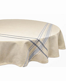 """Chambray French Stripe Tablecloth 70"""" Round"""