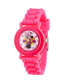 Girl's Disney Minnie Mouse Pink Plastic Time Teacher Strap Watch 32mm
