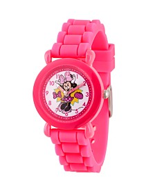 EwatchFactory Girl's Disney Minnie Mouse Pink Plastic Time Teacher Strap Watch 32mm